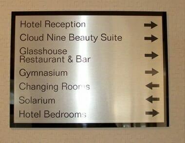 Hotel wayfinding signage