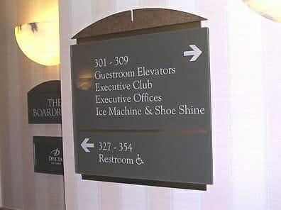 Bathroom directional signage