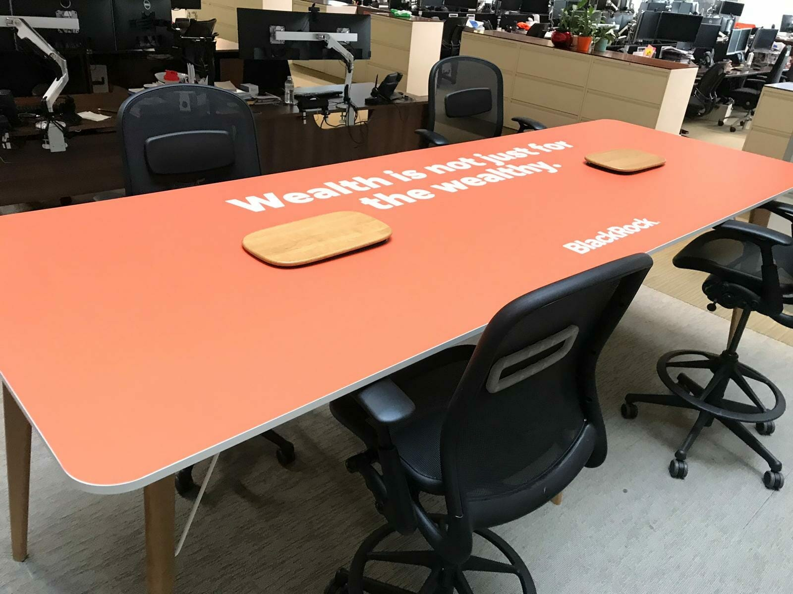 Office graphics on a table